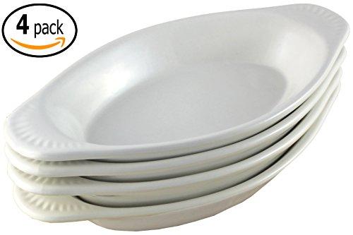ITI Ceramic Oval Rarebit  Au Gratin Baking Dish with Pan Scraper Set of 4 12 Ounce Pure White