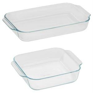 Pyrex Basics Clear Glass Baking Dishes - 2 Piece Value-Plus Pack - 1 Each 3 Quart Oblong 2 Quart Square