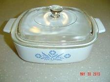 Vintage Corning Ware Blue Cornflower A 1 B 1 Liter Square Casserole Baking Dish with Lid