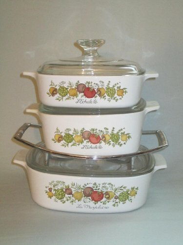 Set of 3 - Vintage 1970s Corning Ware  Spice O Life  Covered Casserole Baking Dishes w Rack 1 Liter 15 Liter 2 Quart