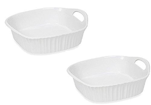 CorningWare French White III 8-Inch Square Baking Dish Set of 2