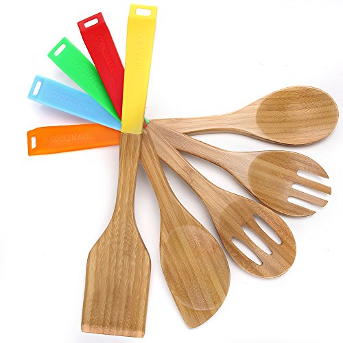 5 Piece Bamboo Wood Nonstick Cooking Utensils - Wooden Spoons and Spatula Utensil Set with Multicolored Silicone Handles in Red Yellow Green Orange Blue - by Cooksmark