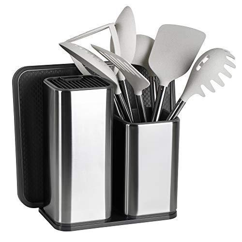 ELFRhino Utensil Holder Stainless Steel Kitchen Utensil Holder Knives Block Utensil Container Utensil Cock Flatware Caddy Cookware Cutlery Utensil Holder Multipurpose Kitchen Storage Crock