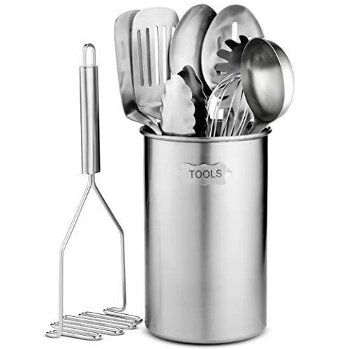 Stainless Steel Kitchen Utensil Set - 10 piece premium Non-Stick Heat Resistant Kitchen Gadgets Turner Spaghetti Server Ladle Serving Spoons Whisk Tungs Potato Masher and Utensil Holder