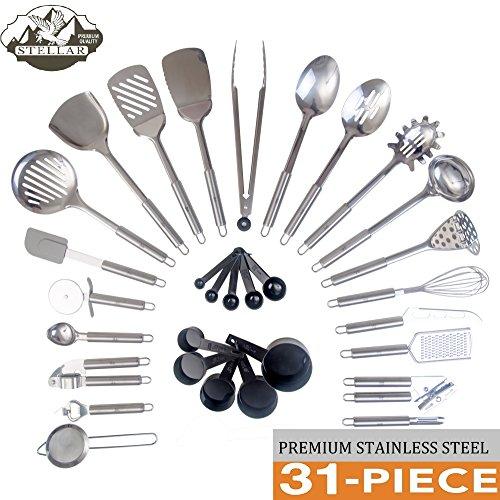 Stainless Steel 31 Piece Utensil Set Premium Kitchen Utensils Tool Gadget Set All Premium Cooking Utensils including Can Opener Peeler Ladle Skimmer Serving Spoons etc