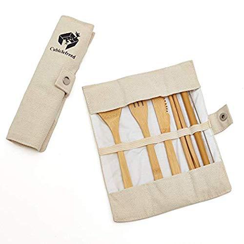 Reusable Bamboo Cutlery 7 Piece Set - KnifeForksSpoonEco-FriendlyUtensilsReusable Ecotensils - Kitchen Silverware - Cutlery Set - Reusable Eco Friendly Utensils - Reusable Utensils - Dinnerware