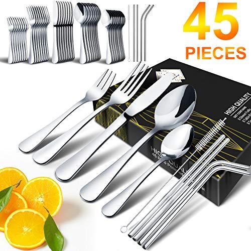 Silverware Set HOBO 45-Piece Japan Stainless Steel Cutlery Flatware Set Knife Fork Spoon Straws Brush Utensils Home Kitchen Hotel Restaurant Tableware Dinnerware Set Service for 8