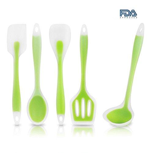 Mysj Heat-Resistant Cooking Utensil Set Kitchen Good Helper-5 Pieces Silicone Spatula Utensil Set Green