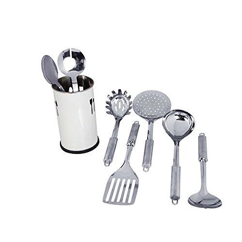 Kosma 5pc Stainless Steel Kitchen Tool Set 2Pc Salad Server Set with Free Kitchen tool Holder Ivory Colour Powder Coated Finish