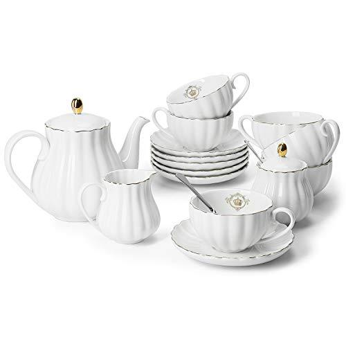 Amazingware Porcelain Tea Set - Tea Cup and Saucer Set Service for 6 with 28 ounces Teapot Sugar Bowl Cream Pitcher Teaspoons and Tea Strainer - for Thanksgiving - Pumpkin Fluted Shape White