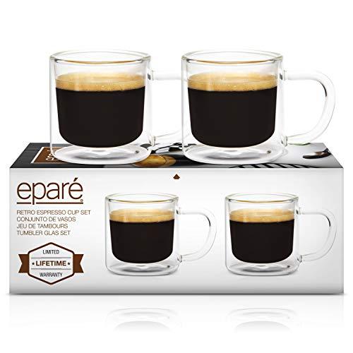 Eparé Retro Espresso Cups - Set of 2 Clear Mugs - 4oz Double Walled Demitasse - Lungo Cappuccino Macciato Shot Glasses