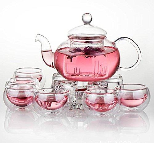 Jusalpha Glass Filtering Tea Maker Teapot with a Warmer and 6 Tea Cups Set Version 2 26-Oz