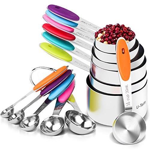 U-Taste 12 Piece Measuring Cups and Spoons Set in 188 Stainless Steel  7 Measuring Cups 5 Measuring Spoons