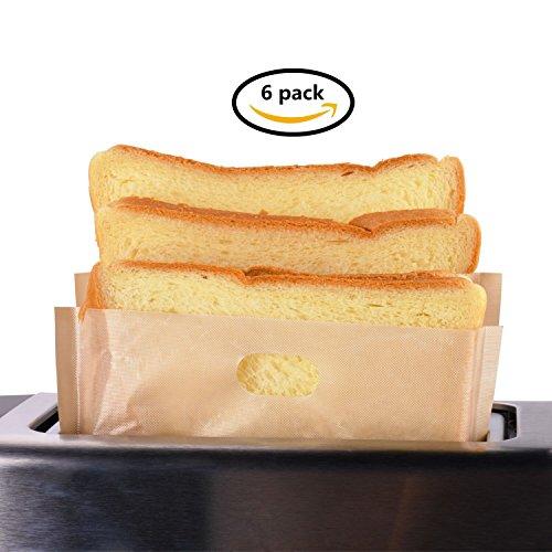 Toaster Bags WillcealPack of 6Beige Non Stick ReusableReusable and Heat Resistant