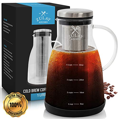 Airtight Cold Brew Coffee Maker with EXTRA-THICK Glass Carafe Stainless Steel Mesh Filter and Non-Slip Silicone Base - Premium Iced Coffee Maker Cold Brew Pitcher Tea Infuser - by Zulay