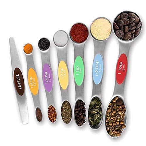 Lomsarsh 8PCS Measuring Spoons Stainless Steel Magnetic Measuring Spoons Stackable Teaspoon Multicolor