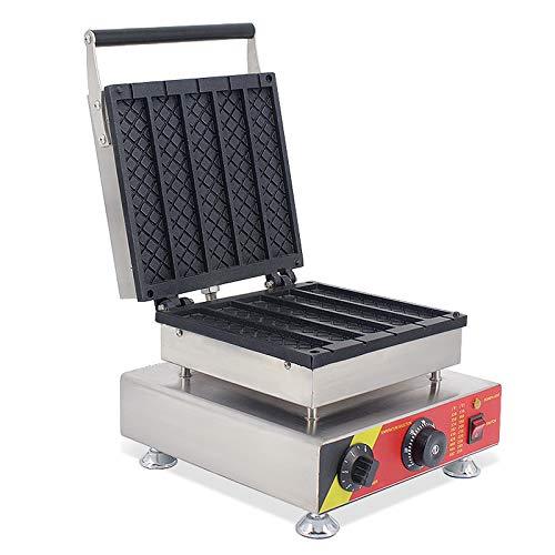 Intbuying Nonstick Electric 5pcs Dutch Syrup Waffle Stick Maker Baker Iron Machine for Waffle Making 110V