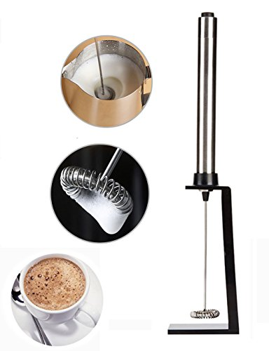 Naiver Handheld Electric Stainless Steel Milk Frother with the Free Bonus Mounting Bracket