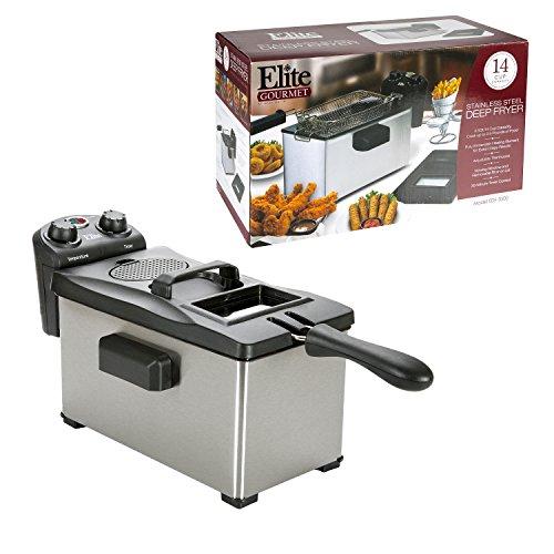 Elite Gourmet EDF-3500 Maxi-Matic 35 Quart Deep Fryer Stainless Steel