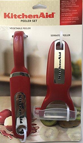 KitchenAid Classic 3-pc Handheld Peeler Set Vegetable Peeler Serrated Peeler Red