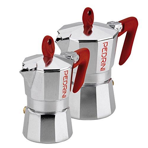 Pedrini 1 Cup  3 Cup Espresso Coffee Pots 2 Pieces Polished Aluminium