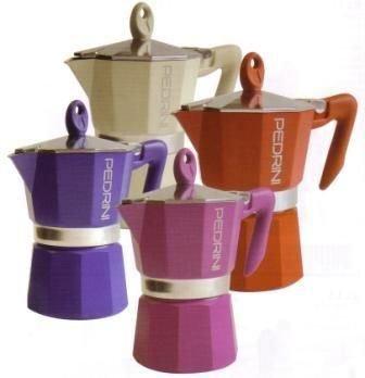 Pedrini 6 Cup Espresso Coffee Pot Red Colour