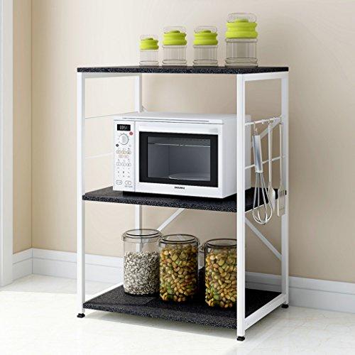 Kitchen Shelves Floor Multi-storey Home Storage Storage Microwave Shelf Shelf Seasonings Oven Rack LWH 604083cm  Color  Black