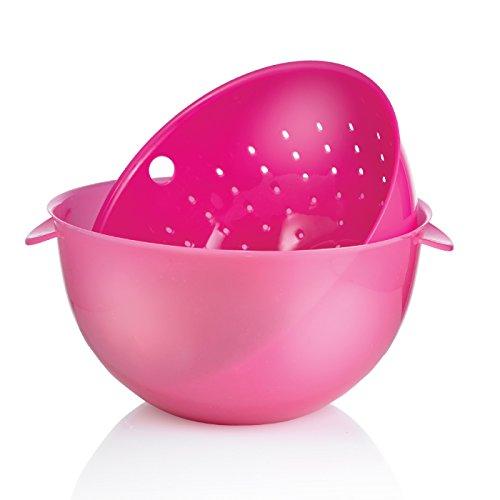 Sunkist 2 Piece Plastic Bowl And Colander Set, 3.5 Quart, Pink Sap2149