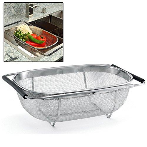 Ykl Expandable Stainless Steel Mesh Strainer, Vegetable Sink Colander