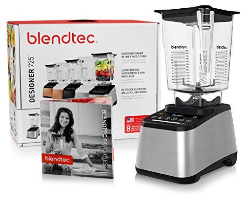 Blendtec Designer 725 Blender with BPA-Free WildSide Jar with Vented Gripper Lid  Blendtec Recipe Book and Starter Guide