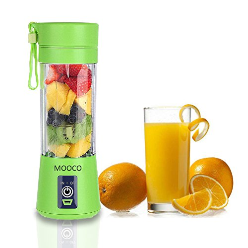 MOOCO Portable USB Juicer CupJuice Blender Portable Juicer Cup Updated Version -Six BladesMini Fruit Mixing Machine USB Rechargeable 380ml in 3D for Superb mixing