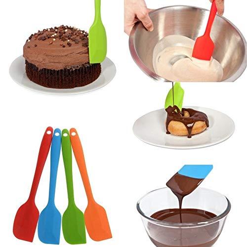 Yukuai❥Cake Spatula Scraping Baking Scraper Heat Resistant Flexible Silicone Spatulas Kitchen Utensils Non-Stick for Cooking Baking and Mixing