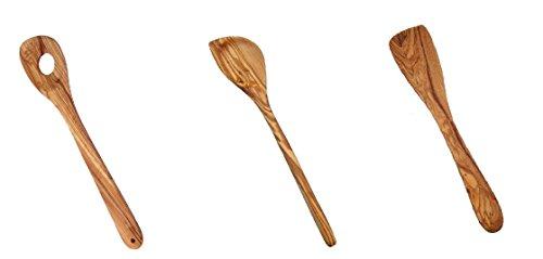 Naturally Med Olive Wood Utensils Bundle - 1x12 Olive Wood Risotto Spoon 1x12 Olive Wood Corner SpoonSpatula 1x12 Olive Wood Spatula