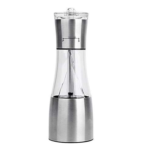 WJUKC 2 in 1 Stainless Steel Manual Double Salt Pepper Grinder Stainless Steel Manual Black Pepper Mill Pepper Bottle Grinder