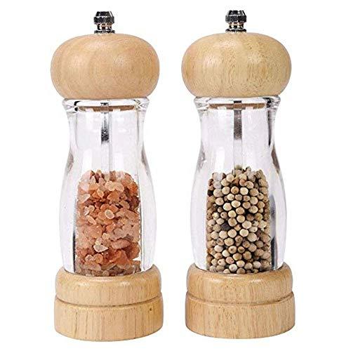 Premium Acrylic Wooden Salt and Pepper Mills Shakers with Adjustable Ceramic Core Salt grinder and Pepper Mill Manual Ceramic Core Grinders Adjustable Coarseness 6 Inch