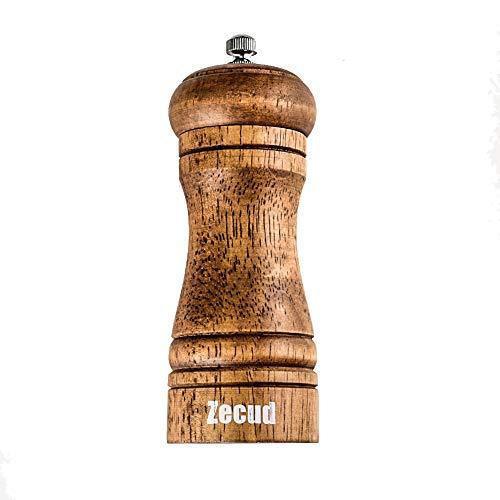 Zecud Salt and Pepper Grinders Oak Wooden Salt and Pepper Mills Shakers Wood Salt and Pepper Mill,Wood Pepper Mill Ceramic Rotor with Strong Adjustable Coarseness