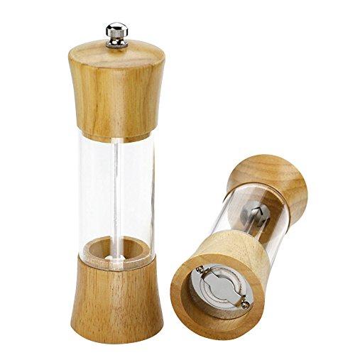 Wood Salt and Pepper Grinder Adjustable Spice Mill Shakers Rotor Seasoning Bottle for Kitchen Restaurant Home Brown