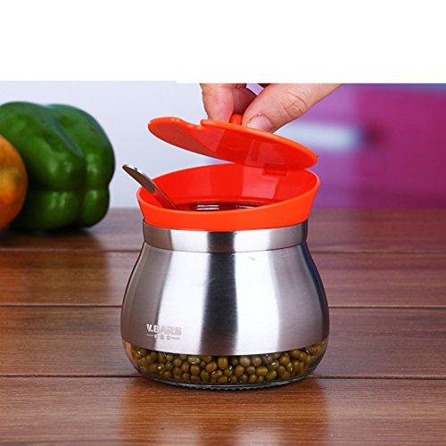 Glass spice box setCreative Spice jar stainless steel salt shaker European-style kitchen-D