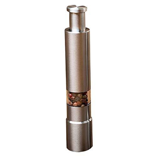 Celiy Pepper Grinder Stainless Steel Thumb Push Salt Pepper Spice Sauce Grinder Mill Muller Stick Home Kitchen Bathroom Decor