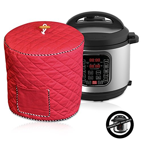 Electric Pressure Cooker Cover Decorative Cover With Pocket For Accessories Fits 6QT Instant Pot Red