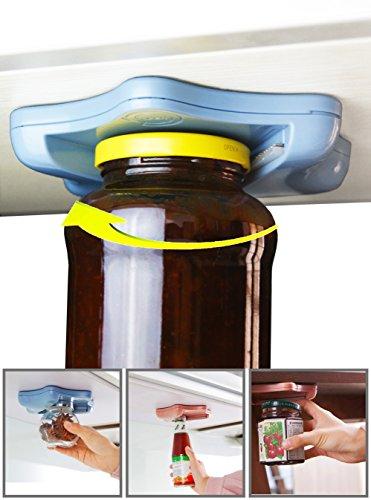 Jar Opener Grip for Seniors Weak Hands GripperBottle Soda Lid Opener Under Counter Cabinet for Arthritis One Hand Opener