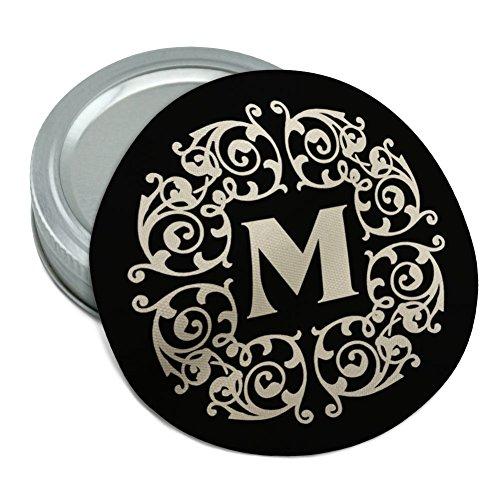 Letter M Initial Black White Scrolls Round Rubber Non-Slip Jar Gripper Lid Opener