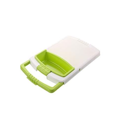 1 Pc Retractable Drain Basket Cutting Board Multifunction Non-slip Kitchen Chopping Block Cutting Board with Storage Basket Green
