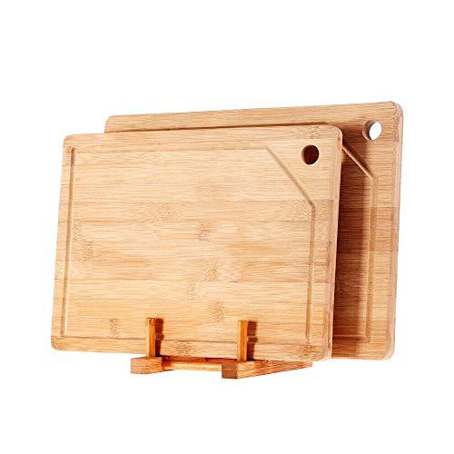 TIAN HENG XIN Bamboo Cutting Board Rectangle Hangable Cutting Board Set Chopping Board With Juice Groove Kitchen Chopping Blocks Tool