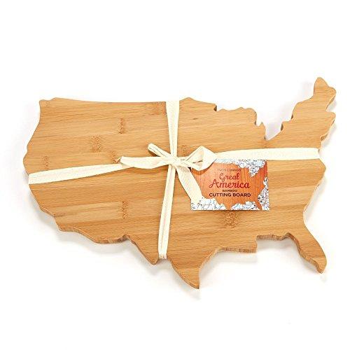 United States Shaped Natural Bamboo Cutting Board