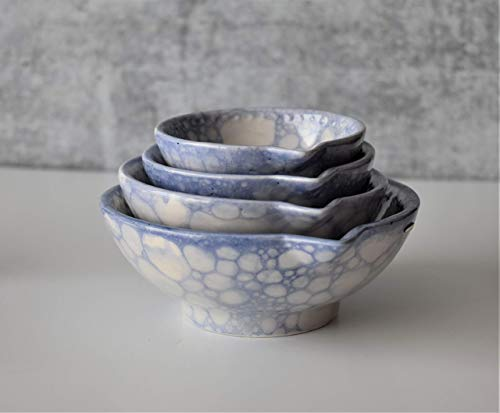 Blue handmade ceramic measuring cups set of four measuring bowls