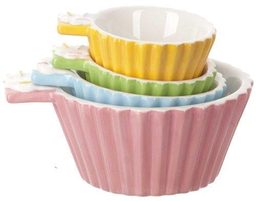 Ceramic Measuring Cups - 4 Piece Set - Cupcakes