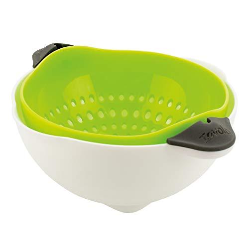 Tovolo Soak N Strain Colander Easy-Pour Spout 5 Quart Food Strainer Spring Green