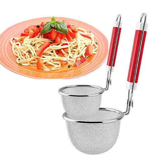 Food StrainerAIYoo Premium Stainless Steel Fine Mesh Net Strainers with Fix HooksNoodles Pasta Strainer Colander 2 Size Kitchen Strainers with Non-Slip Handles
