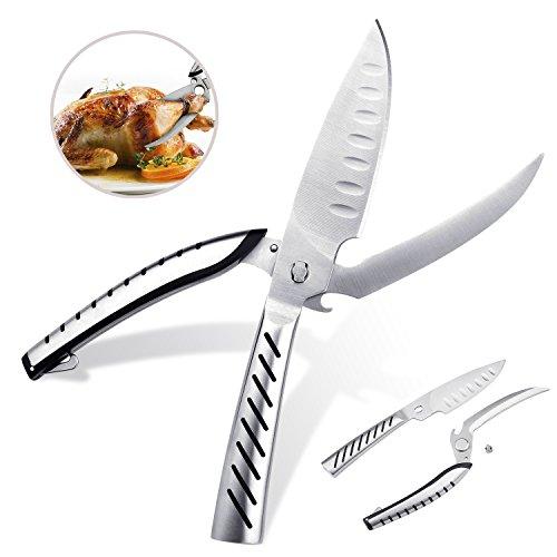 Multi Purpose Scissors Kitchen Shears Heavy Duty Poultry Shears Premium Ultra Sharp Stainless Steel Material Cut Bone Meat Fish Chicken Scissors Separable BBQ knife Bottle Opener